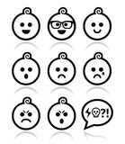 Baby boy faces, avatar  icons set Royalty Free Stock Images