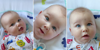 Baby boy - Faces. Multiple images Royalty Free Stock Photography