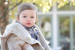 Baby Boy in Fall Coat Stock Image