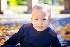 Baby boy in the fall Royalty Free Stock Photography
