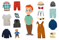 Baby Boy Fashion Icon Set. Flat colored baby boy fashion icon set with child figure and various clothes vector illustration Royalty Free Stock Images