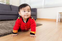 Baby boy feel curiosity Royalty Free Stock Photo