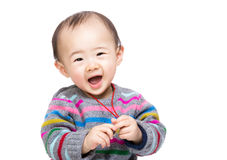 Baby boy feel excited. Isolated on white Stock Image