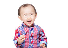 Baby boy feel excited with toy block. Isolated on white Royalty Free Stock Photo