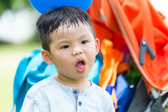 Baby boy feeling dislike Stock Photos