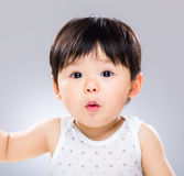 Baby boy feeling surprise. With gray background Stock Photos