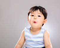 Baby boy feeling surprise Stock Image