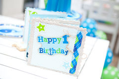Baby boy first birthday party - guest book Stock Photo