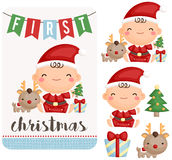 Baby Boy First Christmas Vector Set. A vector of cute baby boy first christmas Stock Photo