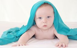 Baby boy five months old under bright blue cover Stock Photo