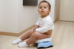 Baby boy on a folding potty Royalty Free Stock Photos