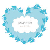 Baby boy foot and handprint greeting card Royalty Free Stock Image