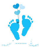 Baby boy foot prints with hearts balloon vector greeting card Stock Photography