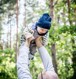 Baby boy in forest Royalty Free Stock Image