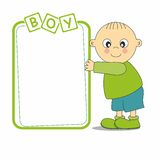 Baby boy with a frame Stock Images