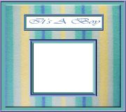 Baby boy frame. A picture frame on a pastel frame with the words It's a boy Stock Photo