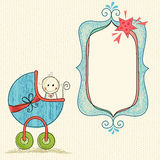 Baby Boy Frame. Doodle baby frame banner with baby carriage and boy Stock Photos