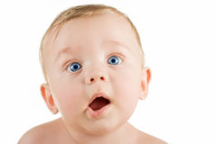 Baby boy funny grimace stock images