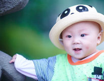 Baby boy in funny panda hat Royalty Free Stock Photos