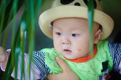 Baby boy in funny panda hat Royalty Free Stock Photo
