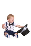 Baby boy gentleman with cylinder hat royalty free stock image