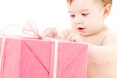 Baby boy with gift box #2 Royalty Free Stock Image