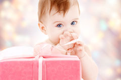 Baby boy with gift box Royalty Free Stock Photo