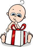 Baby boy with gift cartoon illustration Royalty Free Stock Photography