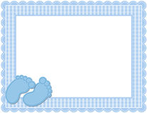 Baby Boy Gingham Frame. Gingham patterned frame with scalloped border designed in Baby themed colors with cute baby feet accents Stock Image