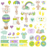 Baby Boy Giraffe Scrapbook Set. Decorative Elements Royalty Free Stock Images