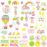Baby Boy Giraffe Scrapbook Set Stock Photo