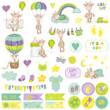 Baby Boy Giraffe Scrapbook Set Royalty Free Stock Image