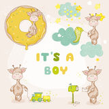 Baby Boy Giraffe Set - Baby Shower Card Stock Images
