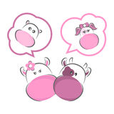 Baby Boy or a girl. Moxy Patty the cow mama wishes for a Baby Boy & daddy a Baby girl, vector Stock Image