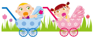 Baby boy and girl. Illustration of Baby boy give flower to girl Stock Photo