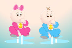 Baby Boy and Girl. Lovely Design Art of Baby Boy and Girl Vector Illustration Stock Image