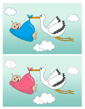 Baby boy and girl arrival announcement card Royalty Free Stock Images