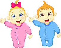 Baby boy and girl cartoon waving hand Stock Images