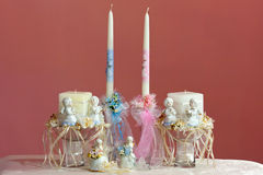 Baby boy and girl christening candles Royalty Free Stock Photography