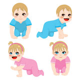 Baby Boy And Girl Crawling Royalty Free Stock Image