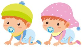 Baby boy and girl crawling Royalty Free Stock Photos
