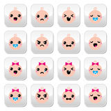 Baby boy and girl cute Kawaii buttons set Royalty Free Stock Photography