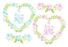 Baby boy and girl, floral hearts, vector royalty free illustration