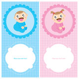 Baby Boy and Girl Greeting card design Stock Photography