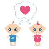 Baby boy and girl Royalty Free Stock Photography