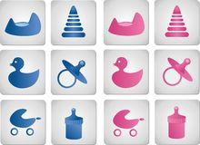 Baby boy and girl icons Royalty Free Stock Photos