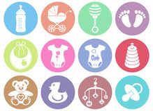 Baby boy and girl icons. Set of twelve colorful baby boy and girl icons Royalty Free Stock Photo