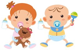 Baby boy and girl with milk bottles. Illustration Stock Photo