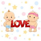 Baby boy and girl 1 part. royalty free illustration