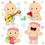 Baby boy and girl 4 part. A set of illustrations of icons with a baby girl and boy, the boy plays the guitar, eats a watermelon instead of milk from a bottle royalty free illustration